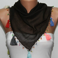 Brown Scarf ,Cotton Scarf  Woman  Cowl with Lace Edge -