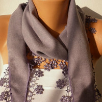 Mother's Day Gift - Lilac  Scarf  Pashmina  Scarf   Cowl with Lace Edge   Gift for Her