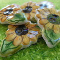 Handmade Ceramic Sunflower Buttons, Set of 5, Sewing Notions or Embellishments, for Jumpers, Children's Clothing, Clothing, Quilts, Novelty