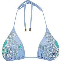 Light blue Pacha embellished bikini top  - pacha - swimwear / beachwear - women