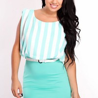 Mint White Two Tone Dress