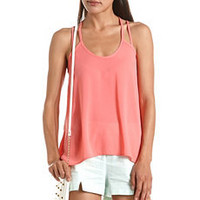 Cage-Back Hi-Low Chiffon Tank: Charlotte Russe