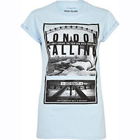 Light blue London calling print t-shirt  - print t-shirts / vests - t shirts / vests / sweats - women