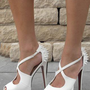 White studded heels from Chockers Shoes