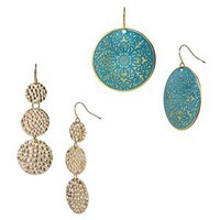 Disc Earring Set - Gold/Turquoise