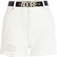 White high waisted belted denim shorts - denim shorts - shorts - women