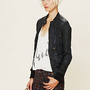Free People Leather Bomber Jacket