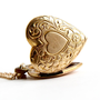 Vintage Heart Locket Necklace - 12k Gold Filled on Silver Sweetheart 1940s Jewelry / Flower Picture Locket