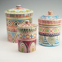 Bohemian Canister Set by owlcreekceramics on Etsy