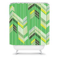 DENY Designs Home Accessories | Gabi Chevron Green Shower Curtain