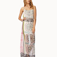 Scarf Print Chiffon Maxi Dress
