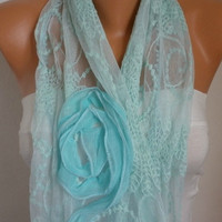 Mint  Lace Scarf -  Shawl Scarf - Cowl Scarf - bridesmaid gifts - fatwoman