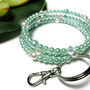 Keychain Bracelet Mint White Pearls Crystal Memory Wire Id Badge
