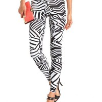 High Waisted Printed Cotton Legging: Charlotte Russe