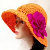 Orange Crochet Cotton Sun Hat. Beach Hat. Summer Fashion Hat