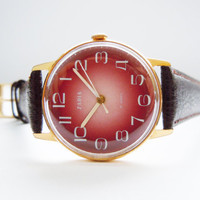 Vintage Russian Gold Plated Mens Watch Zarja