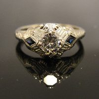 Art Deco Engagement Ring Sapphire and Diamond RGDI1096