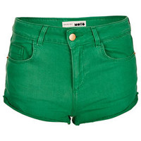 MOTO Green Denim Hotpants - Hotshop  - Clothing