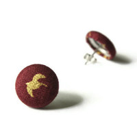 Gold Flying Bird Silhouette Drawing on Dark Red Maroon Fabric Covered Button Earrings