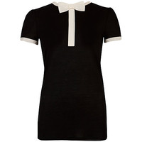 Buy Ted Baker Bow Neck Detail T-Shirt, Black online at John Lewis