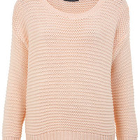 Pink Crop Garter Stitch Jumper