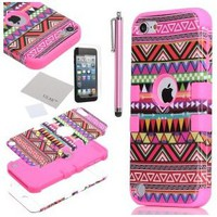 Pandamimi ULAK Hybrid Pink Hard Aztec Tribal Pattern + Pink Silicon Case Cover For Apple iPod Touch (Generation 5) +Screen Protector +Stylus
