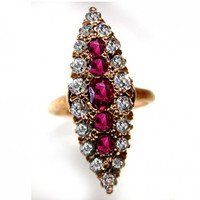 Antique Ruby and Old Miner Cut Diamond Ring Circa 1920s | artdecodiamonds - Wedding on ArtFire