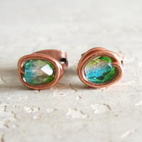 Aqua Stud Earrings   Tiny Copper Wire Wrapped by contempojewels