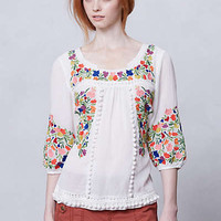 Anthropologie - Pompom Peasant Blouse
