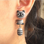 Cute Raccoon 3D Fimo Clay Ear Stud (Single) | LilyFair Jewelry