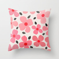Dogwood Vintage Pink Throw Pillow by Garima Dhawan