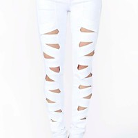 Lattice Leg Skinny Jeans - White