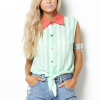 Color Block Striped Button Up