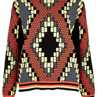 Knitted Tribal Jacquard Sweat - Knitwear  - Clothing