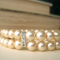 Double Strand Pearl Bridal Bracelet  by littlewhitechapel on Etsy