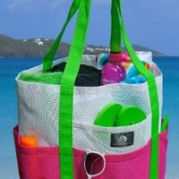 Mesh Family Beach Tote - White &amp; Hot Pink w black Carabiner Hook by Saltwater Canvas:Amazon:Sports &amp; Outdoors