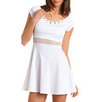 Studded Mesh Waist Skater Dress: Charlotte Russe