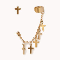 Cross Stud &amp; Ear Cuff