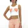Hearts Away Coral Sequin Crop Tank Top