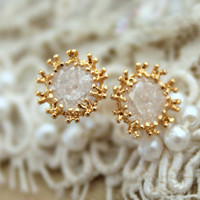 White clear Rhinestone zircon stud earrings - 14k Gold filled.