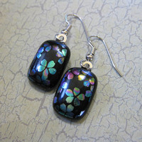 Multi colored Dichroic Flower Earrings, Dangle Earrings, Hypoallergenic Earings, Flower Jewelry - Eva - 1851 -3