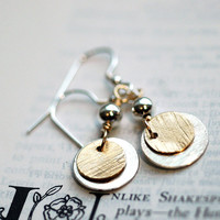 Silver and Gold Earrings - Mixed Metal Dangles - Luxe and Beautiful - Modern with a Rustic Hammered Texture