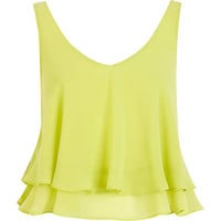 Lime double layered V neck crop top - crop tops / bralets / bandeau tops - tops - women