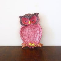 Vintage Owl Catchall, Spoon Rest, or Wall Hanging in Pink, Brinn's Pittsburgh PA