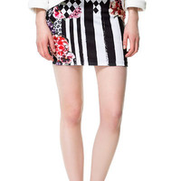 STRIPED FLORAL SKIRT - Skirts - Woman - ZARA United States