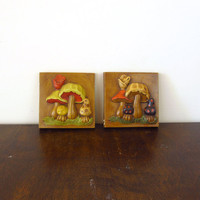 Vintage Mushroom Wall Hangings, Ceramic Plaques, 1970s