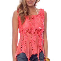 Pixie Crochet Tunic in Neon Pink :: tobi
