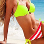 Lime Halter Top &amp; Striped Side-tie Bottom