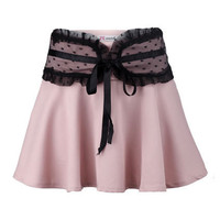 Lace Waistband Flare Skirt
