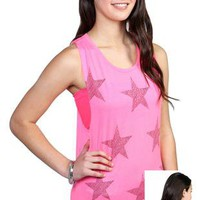 star patterned screen tank top with open roll back detail and stones - 1000048014 - debshops.com